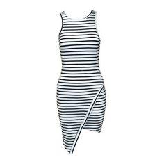 Rotita Round Neck Asymmetric Slim Fit Striped Tank Dress ($19) ❤ liked on Polyvore featuring dresses, white, asymmetrical dress, slimming dresses, white sleeve dress, striped tank dress and white asymmetrical dress