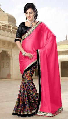 Pink & Grey Georgette Crepe Patch Work Saree