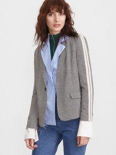 Grey Striped Sleeve Chevron Pattern Tweed Blazer