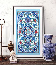 Traditional Istanbul Floral Motif Watercolor Art, Ottoman Iznik Tile Design Wall Decor, Turkish Ornament Tile Prints and Original Painting • PRINTS - MULTIPLE SIZES: A5 - 5.83 x 8.27 (210mm x 148mm) A4 - 8.27 x 11.7 (297mm x 210mm) A3 - 11.7 x 16.5 (420mm x 297mm) • All prints are high quality, archival and professionally printed with Canon Pro Lucia pigment inks, which do not fade or yellow for 200 years. Printed on 220g Heavy Weight quality Fine Art Paper, archival and acid free. • We…