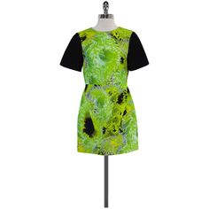 Pre-owned Tibi Green & Black Digital Print Short Sleeve Dress ($119) ❤ liked on Polyvore featuring dresses, preowned dresses, green day dress, tibi dresses, short-sleeve dresses and digital print dress
