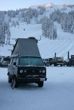 Vanagon as winter ski cabin.