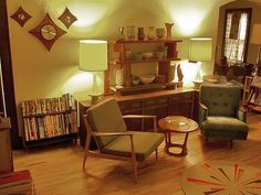 retro 50s living room | The coffee table shows a typical 50s style organic shaped coffee pot ...