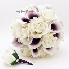 Purple White Real Touch Bridal Bouquet by SongsFromTheGarden