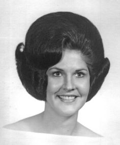 A typical early to mid sixties hair that was roller set, brushed out and then teased and sprayed with heavy duty hair spray. This was done once or twice a week. You slept with either a satin cap or you clipped toilet paper on to protect the set. 1960 Hairstyles, Mohawk Hairstyles, Vintage Hairstyles, Classic Hairstyles, Hairstyle Short, Updo Hairstyle, Prom Hairstyles, Sixties Hair, 1960s Hair