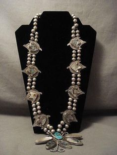 ONE OF THE MOST UNIQUE VINTAGE NAVAJO TURQUOISE SILVER SQUASH BLOSSOM NECKLACE