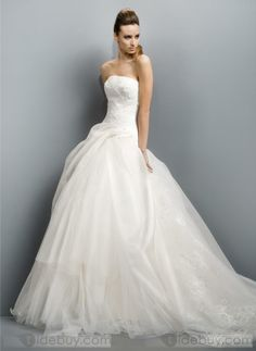 Fantastic Ball Gown Strapless Floor-length Chapel Wedding Dresses 2012 New Style