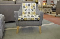 Living : LISBON Accent Armchair in Grey and Blue