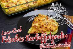 Das Falsche Kartoffelgratin Low-Carb unterscheidet sich optisch kaum vom herkömmlichen Kartoffelgratin, ist aber im Gegensatz zu diesem Low-Carb