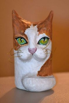 Paper mache Toilet paper roll paper mache kitten, created by Stefanie Gibbons-Pope