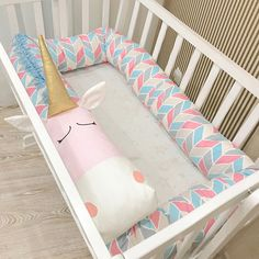 Baby crib bumper Light BLUE & PINK UNICORN with Solid Golden Horn ❤ SLEEP WELL and FEEL SECURE with our adorable handmade PINK UNICORN CRIB BUMPER! ❤ The crib bumper in the shape of Snake/Dragon/Unicorn ensures a cosy and soft environment for your baby and creates a good mood for the whole family!  It can also be used for fun and playing, being a cute and kind Creature to make friends with, or simply a large, long pillow to take some rest. You can add a custom embroidered na...