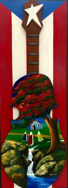 Artesanía de Puerto Rico. Reyes magos, casita y flamboyán en el rio sobre cuatro puertorriqueño al óleo sobre madera.