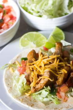 These marinated pork tacos are so simple, but they taste amazing! It's an easy dinner to throw together that your whole family will love. Healthy Pork Recipes, Lunch Recipes, Easy Dinner Recipes, Dinner Ideas, Supper Ideas, Clean Recipes, Healthy Meals, Healthy Eating, Pork Roulade