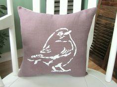 Shabby chic  pillow, decorative pillows, throw pillows, farmhouse decor, purple pillow, home decor, bird pillow, birds, paisley