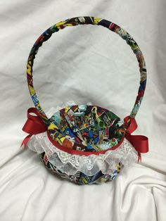 Vintage comic book Flower Girl Basket by 2Marys on Etsy, $25.00