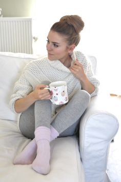 AAhh….soft leggings, warm socks, cozy sweater and a cup of coffee curled up on the couch….life is good!