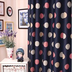 Romantic Navy Blue Yarn and Poly Blackout Curtains for Kids (Two Panels)