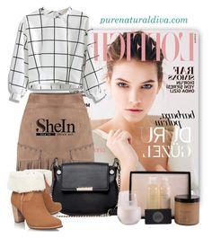 """Camel Slim Skirt"" by purenaturaldiva ❤ liked on Polyvore featuring French Connection, Chicwish, UGG Australia, naturalbeauty, organicbeauty and purenaturaldiva"