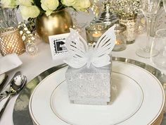 Visit us to see our range of Butterfly designer hand crafted table decorations for weddings and events ; wedding favour boxes, place cards, escort cards, napkin rings and custom made gift boxes Silver Wedding Favors, Wedding Favor Boxes, Rose Wedding, Favour Boxes, Gift Boxes, Butterfly Table Decorations, Custom Made Gift, Hand Molding, Personalised Box