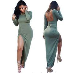 Women Sexy Long Maxi Winter Long Sleeve Backless Open Fork Bandage Evening Dress #Generic #Sexy #Clubwear