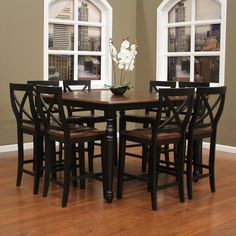 AHB Berkshire 9 Piece Counter Height Dining Set With Camden Stools