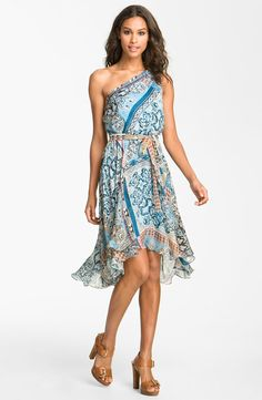 Laundry by Shelli Segal One Shoulder Chiffon Dress