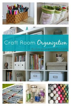 10 Craft Room Organization Ideas Love the Punched Dot Cardstock Labels and Fancy glitter jars.