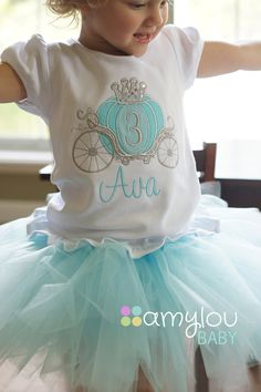 ******CURRENT PROCESSING TIME IS 3 WEEKS BEFORE ORDERS SHIP****** *************************** Embroidery Design Info: *************************** A perfect birthday shirt for your pretty little princess! This beautiful shirt has touches of sparkle all throughout the design. An aqua and