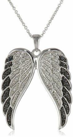 """Sterling Silver Black and White Angel Wings Diamond Pendant Necklace (1/2 cttw, I-J Color, I2-I3 Clarity), 18"""""""