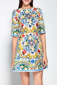 Mary.yan&yu Colormix Colorful Floral Mini Dress   Mini Dresses at DEZZAL Click on picture to purchase!