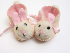 Easter Bunny Baby Shoes Cream and Pink Mrs Bunny by funkyshapes