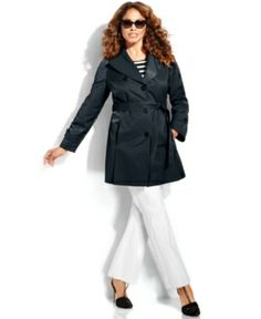 DKNY PLUS SIZE SINGLE-BREASTED BELTED TRENCH COAT