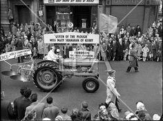 St. Patrick's Day: N.A.I.D.A. Queen of the Plough, Mary Shanahan parades through Dublin 1961