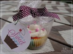 Cupcake gifts - put the cupcake in a small, clear solo cup and wrap with cellophane. by janie