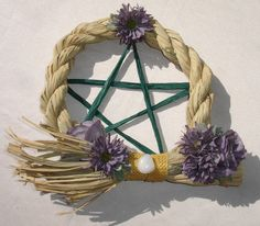 Purple Floral Pentagram Raffia Wreath with Citrine Gemstone- Ooak - $35.00 - Handmade Metaphysical, Crafts and Unique Gifts by Harmonee's Magickal Creations