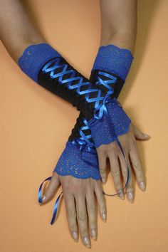 Black and Cobalt Corset Armwarmers Gothic Costume by estylissimo, $24.00