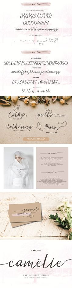 Camelie Typeface Handwriting Fonts, Script Fonts, Cool Fonts, How To Become, Place Card Holders, Branding, Invitations, Blog, Beautiful