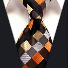 Checked brown orange multicolor 100 silk men's tie.