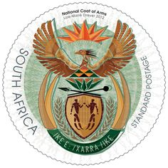 Issued National Coat of Arms - Lize-Marie Dreyer South African Symbols Union Of South Africa, Office Stamps, African Symbols, South African Design, Postage Stamp Collection, Custom Helmets, National Symbols, New Africa, African Animals