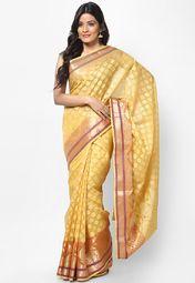Supernet Cotton Fancy Contrast Zari Work Banarasi Mustered Saree