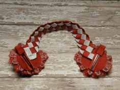 Red and White Bun Wrap Red and White Ponytail by 3BlossomsBoutique