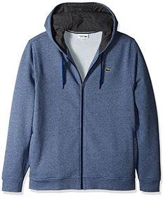 89b21dd750 Lacoste Men's Full Zip Hoodie Fleece Sweatshirt, Marino Jaspe/Pitch, X-Large
