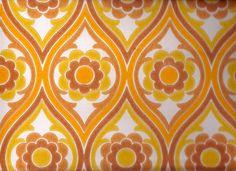 Vintage 1970s Wallpaper - Brown Funky Flower - Price per yard. $14.00, via Etsy.