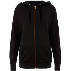 Finery London Pineapple X Finery The Arabesque  Hoodie (720 SEK) ❤ liked on Polyvore featuring tops, hoodies, washed black, hooded pullover, long length tops, sweatshirt hoodies, long zip up hoodie and long hoodie