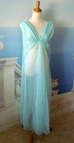 Vintage 1960s era Fredericks of Hollywood Light Blue Chiffon Gown