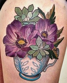 Flowers & Succulents in s Teacup Tattoo