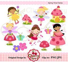 Primavera tiempo de hadas digital clipart establecido para
