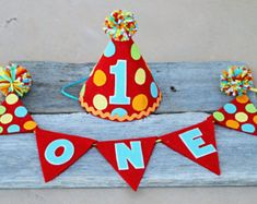 Boys 1st Birthday Carnival Party Hat - Boys First Birthday Circus Hat - Fiesta  Party Hat 2fd4fe8f558