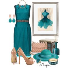 Teal & Nude by anna-campos on Polyvore