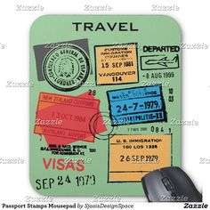 Passport Stamps Mousepad